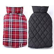 강아지 코트 조끼 강아지 의류 따뜻함 유지 양면 가능 격자무늬/체크 베이지 브라운 레드 그린