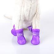 Gato Perro Zapatos y Botas A Prueba de Agua Un Color Negro Morado Rosa Verde Azul Para mascotas