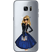 Funda Para Samsung Galaxy S7 edge S7 Ultrafina Transparente Diseños Funda Trasera Chica Sexy Suave TPU para S7 edge S7 S6 edge plus S6