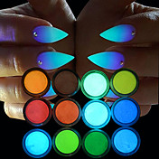 12pcs Glitter & Poudre Pudder Chic & Moderne Lyse I Mørke Høy kvalitet Daglig Nail Art Design