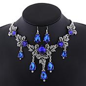 Mujer Juego de Joyas Circonita Joyería Destacada Moda Joyería de Lujo Europeo Piedras preciosas sintéticas Legierung Gota 1 Collar 1 Par