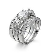 Dame Smykke Sett Forlovelsesring Ring Syntetisk Diamant Kubisk Zirkonium Elegant Europeisk Zirkonium Kubisk Zirkonium Stål Kostyme smykker