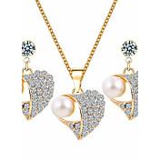Mujer Juego de Joyas Cristal Básico Boda Fiesta Ocasión especial Diario Casual Perla Artificial Brillante Legierung Corazón 1 Collar 1