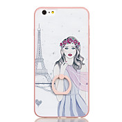 Para Soporte para Anillo Diseños Funda Cubierta Trasera Funda Chica Sexy Dura Policarbonato para AppleiPhone 6s Plus iPhone 6 Plus iPhone