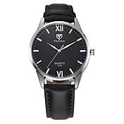 YAZOLE Hombre Cuarzo Reloj de Pulsera / Reloj Casual Piel Banda Casual Reloj de Vestir Negro Marrón