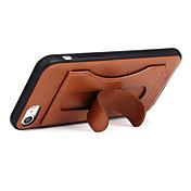 fierre shannl® for apple iphone 7 스탠드 케이스 백 커버 케이스 7 플러스 카드 홀더 솔리드 컬러 그 밖의 하드 정품 가죽