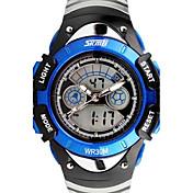 아동 스포츠 시계 디지털 시계 석영 디지털 LCD 듀얼 타임 존 밴드 블랙