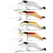 5 stk Myk Agn Sluk Fiskekroke Reke Fiskesluker Myk Lokkemat Myk Plastikk Silikon Søfisking Fluefisking Agn Kasting Spinne Vippefiskeri