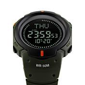 SKMEI 남성용 스포츠 시계 밀리터리 시계 패션 시계 손목 시계 디지털 시계 일본어 디지털 알람 달력 크로노그래프 방수 LED 콤파스 스톱워치 야광 큰 다이얼 실리콘 밴드 멋진 블랙 그린