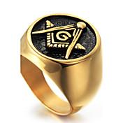 Herre Geometrisk Statement Ring / Ring - Titanium Stål Personalisert, Punk, Rock 8 / 9 / 10 Gull Til Julegaver / Fest / Spesiell Leilighet