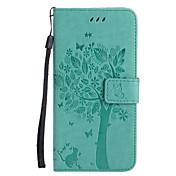 Etui Til Apple iPhone X iPhone 8 Kortholder Lommebok med stativ Flipp Mønster Inngravert Heldekkende etui Katt Tre Hard PU Leather til