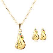 Mujer Collares con colgantes Pendientes Set Circular Colgante Chapado en Oro Para Boda Fiesta Cumpleaños Evento/Fiesta Uso DiarioRegalos