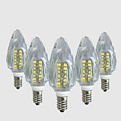 4W 450-500 lm E14 LED-lysestakepærer C35 40 leds SMD 2835 Varm hvit Hvit AC 220V