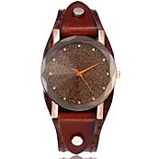 Dame Simulert Diamant Klokke Unike kreative Watch Armbåndsur Moteklokke Hverdagsklokke Kinesisk Quartz Hverdagsklokke Lær Band Vintage