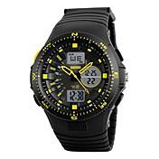 SKMEI 남성용 스포츠 시계 디지털 시계 디지털 달력 방수 스톱워치 야광 듀얼 타임 존 PU 밴드 블랙