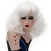 Mujer Pelucas sintéticas Sin Tapa Medio Rizado Rosa Blanco Corte Bob Peluca natural Las pelucas del traje