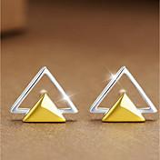 Mujer Pendientes cortos Joyas Moda Personalizado Plata de ley Forma de Triángulo Joyas Para Casual