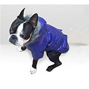 강아지 코트 후드 다운 자켓 강아지 의류 면 겨울 모든계절/가을 캐쥬얼/데일리 솔리드 그레이 퍼플 블루 핑크 애완 동물