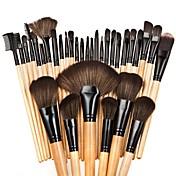 32pcs Makeup børster Profesjonell Børstesett / Rougebørste / Øyenskyggebørste Nylon Børste Nuttet / Full Dekning Bøk / Aluminium