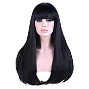 Mujer Largo Corte Recto Negro / azul Pelo reflectante/balayage Entradas Naturales Con flequillo Peluca de cosplay Peluca natural Peluca