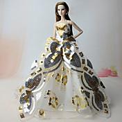 Vestidos Vestidos por Muñeca Barbie  Dorado Vestido por Chica de muñeca de juguete
