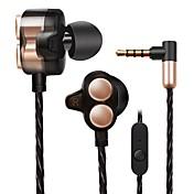 X7 귀에 유선 헤드폰 동적 Aluminum Alloy 모바일폰 이어폰 듀얼 드라이버 마이크 포함 인체 공학적 Comfort-Fit 헤드폰