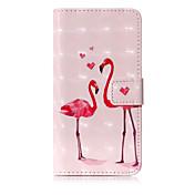 Etui Til Apple iPhone X iPhone 8 Kortholder Lommebok med stativ Flipp Mønster Heldekkende etui Flamingo Hard PU Leather til iPhone X