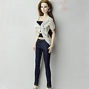 Estilo clásico Top Pantalones, Pantalonetas y Licras por Muñeca Barbie  Blanco/negro Chaqueta Pantalones Faja por Chica de muñeca de