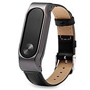 xiaomi miband 정품 가죽 시계 줄이있는 2 개의 스테인레스 스틸 메탈 케이스