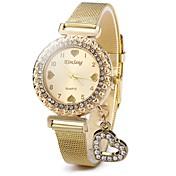 Mujer Cuarzo Reloj de Cristal Pavé Chino Reloj Casual Acero Inoxidable Banda Destello Heart Shape Casual Moda Dorado