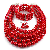 Dame Imitert Perle Smykkesett 1 Halskjede 1 Par Øredobber 1 Armbånd - Statement Sirkelformet Rød Smykke Sett Dråpeøreringer