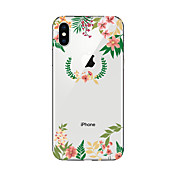 Etui Til Apple iPhone X iPhone 8 Gjennomsiktig Mønster Bakdeksel Blomsternål i krystall Myk TPU til iPhone X iPhone 8 Plus iPhone 8