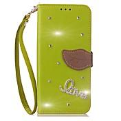 Etui Til Samsung Galaxy Note 8 Kortholder Lommebok Rhinstein med stativ Flipp Heldekkende etui Helfarge Hard PU Leather til Note 8 Note 5