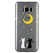 케이스 커버 Samsung Galaxy 용 S8 S7 뒷면 커버 반투명 엠보싱 텍스쳐 패턴 광택 고양이 카툰 글리터 샤인 소프트 TPU S8 S7 S6 용