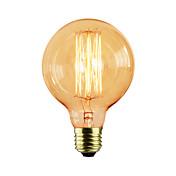 1pc 40W E27 E26/E27 G80 Varm hvit K Glødende Vintage Edison lyspære AC 110-130V AC 220-240V AC 85-265V V