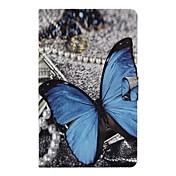 Etui Til Samsung Galaxy Tab A 10.1 (2016) Kortholder / med stativ / Flipp Heldekkende etui Sommerfugl Hard PU Leather til Tab A 10.1 (2016)