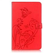 Etui Til Samsung Tab A 10.1 (2016) Kortholder Lommebok med stativ Inngravert Auto Sove/Våkne Heldekkende etui Blomsternål i krystall Hard