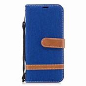 Funda Para Samsung A8 2018 A5(2017) Soporte de Coche Cartera Antigolpes con Soporte Flip Funda de Cuerpo Entero Color sólido Dura Textil