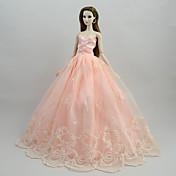 Vestidos Vestidos por Muñeca Barbie  Rosa Satén/Tul Poliéster / Algodón Vestido por Chica de muñeca de juguete