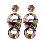 Mujer De Gran Tamaño Gota / Donuts Pendientes colgantes - De Gran Tamaño / Moda / Europeo Blanco / Café / Arco Iris Forma de Círculo