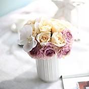 Kunstige blomster 7 Gren Enkel Stil / Bryllupsblomster Roser / Evige blomster Bordblomst