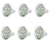 6pcs 1.5 W 250 lm MR11 LED-spotpærer MR11 9 LED perler SMD 5730 Kjølig hvit
