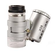 Недорогие -Мини микроскоп 60X  с 2-LED подсветкой + и ультрафиолетовым фонариком (3*LR1130)
