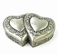"Оловянная шкатулка для украшений ""Два сердца"" с надписью на заказ"