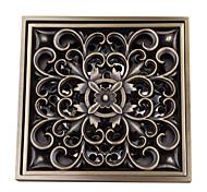 Недорогие -современный цветочный узор квадратный античный медный латунный слив