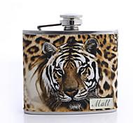 Недорогие -подарок на день печати леопарда Персонализированные отца 5oz искусственная кожа колбу