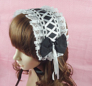 cheap -Lolita Jewelry Classic Lolita Dress Headwear Princess Women's Black Lolita Accessories Solid Lace Bowknot Headpiece Cotton