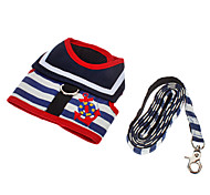Dog Harness Leash Adjustable / Retractable Stripe Textile Black Red Blue White/Red White/Blue
