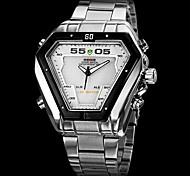 WEIDE® Brand Men's Dual Time Analog-Digital LED Display Steel Band Luxury Wrist Watch Cool Watch Unique Watch