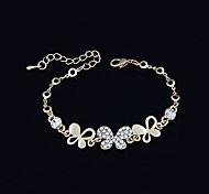 banhado a ouro liga de jóias zircão padrão de borboleta pulseira